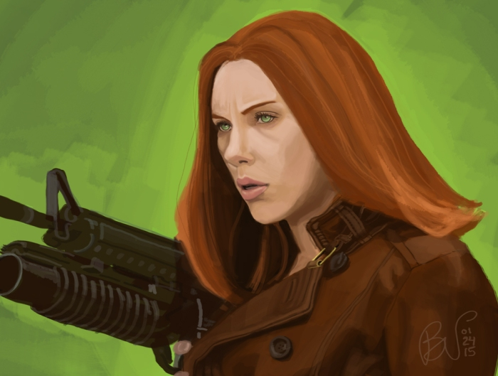 Black Widow. Digital painting in Photoshop with Wacom tablet.