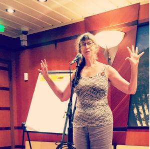 Delia Sherman delivering a brilliant talk