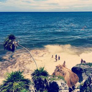 The seaweed strewn beaches of Tulum
