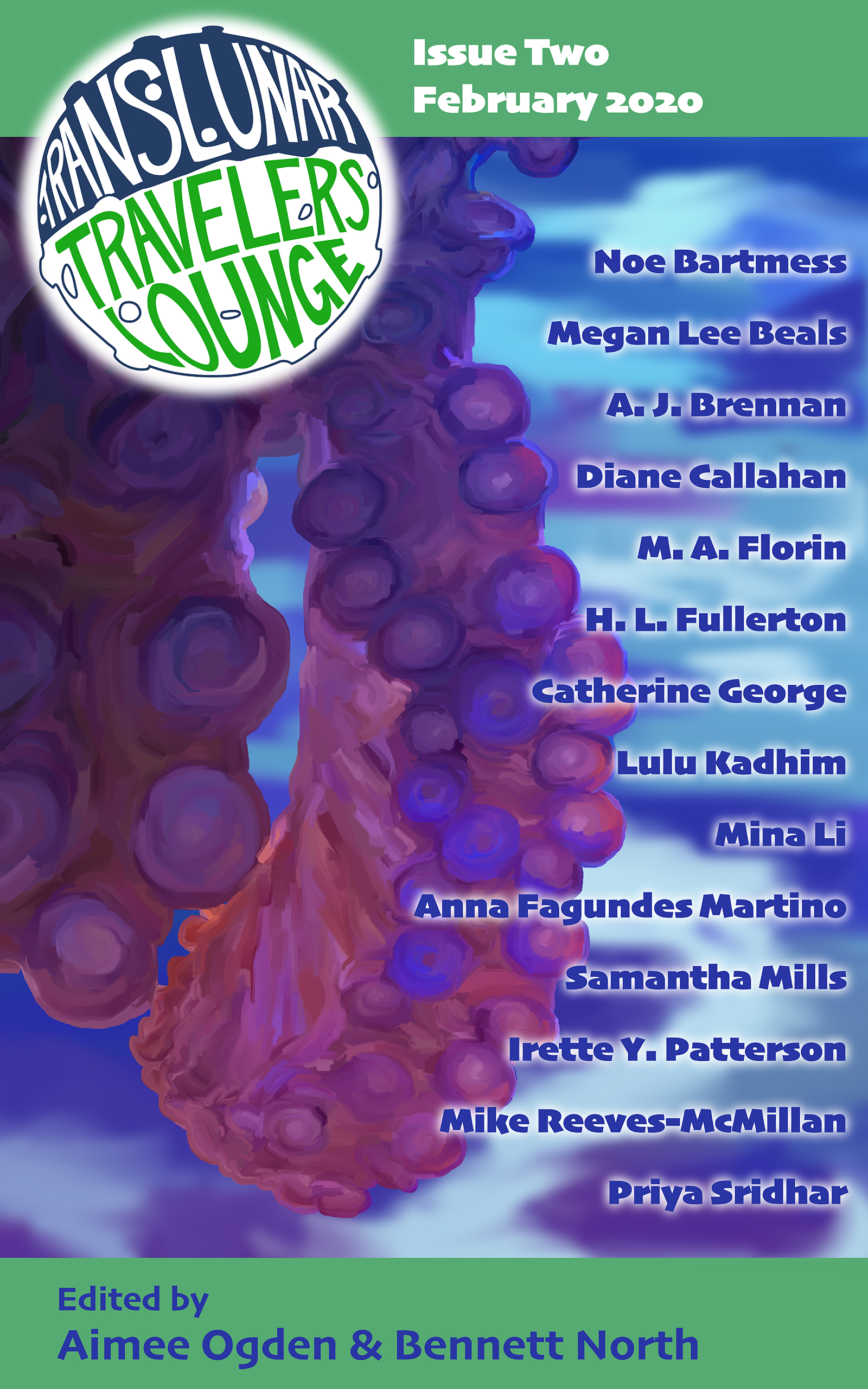 The cover of Translunar Travelers Lounge Issue 2, February 2020. It includes the purple and blue tentacles of an octopus, along with the names of the fourteen authors.